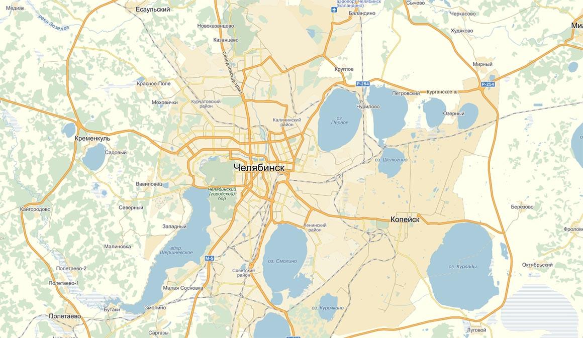 Карта города Челябинск
