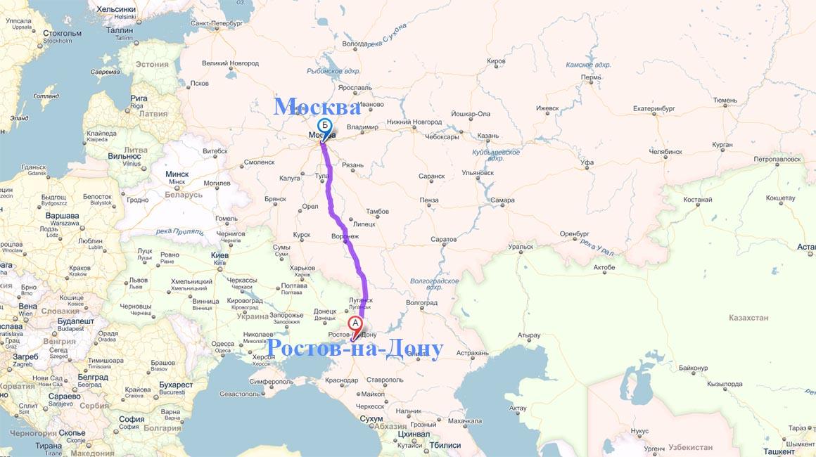 Маршрут перевозки в Ростов из